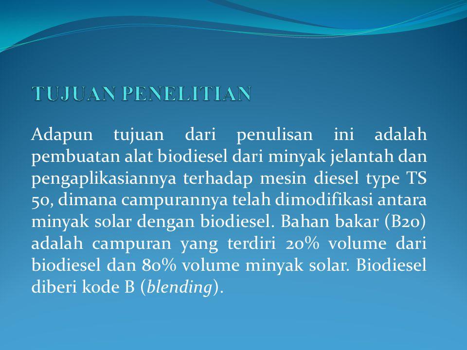 Adapun tujuan dari penulisan ini adalah pembuatan alat biodiesel dari minyak jelantah dan pengaplikasiannya terhadap mesin diesel type TS 50, dimana campurannya telah dimodifikasi antara minyak solar dengan biodiesel.