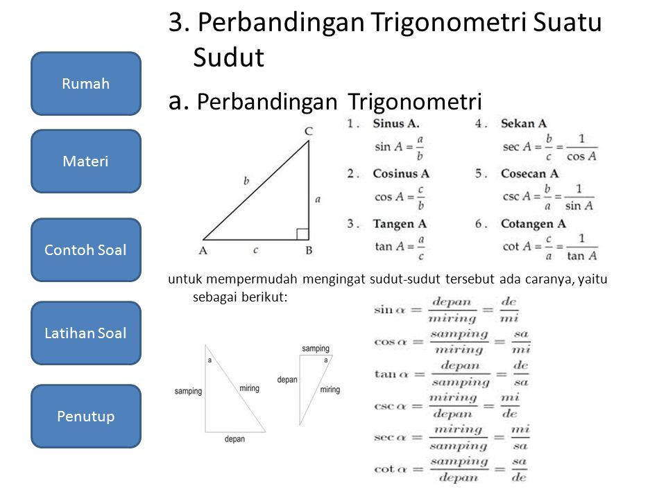 3. Perbandingan Trigonometri Suatu Sudut a. Perbandingan Trigonometri untuk mempermudah mengingat sudut-sudut tersebut ada caranya, yaitu sebagai beri