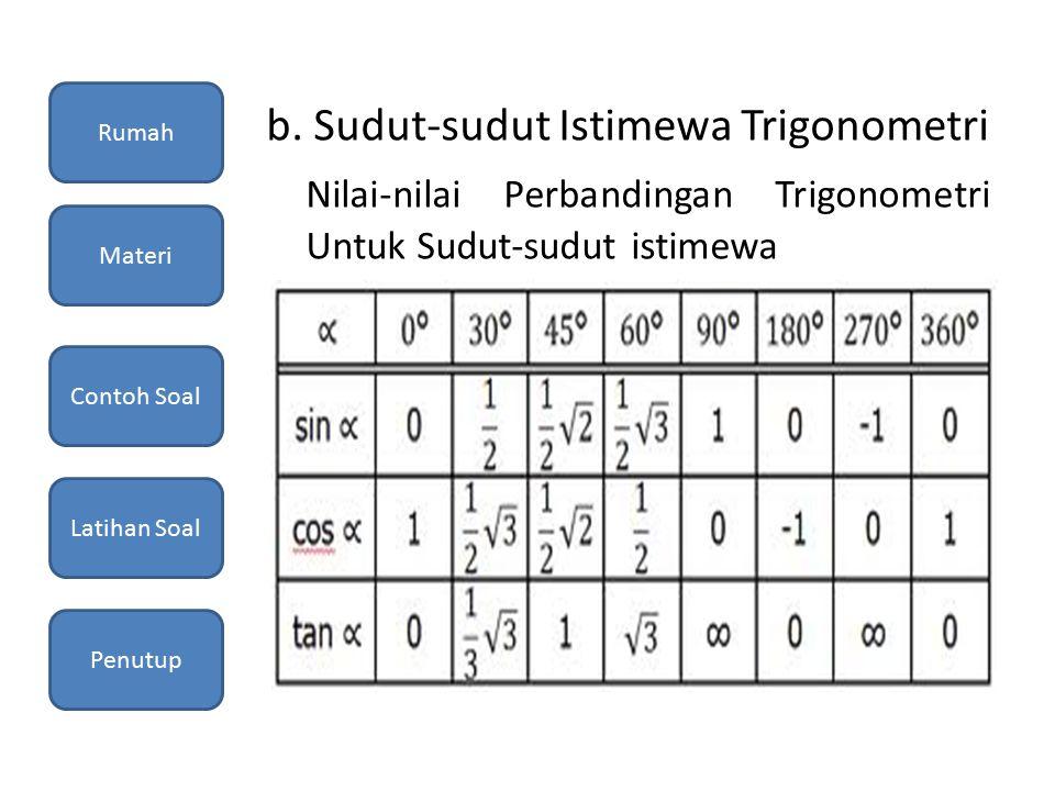b. Sudut-sudut Istimewa Trigonometri Nilai-nilai Perbandingan Trigonometri Untuk Sudut-sudut istimewa Rumah Materi Contoh Soal Latihan Soal Penutup
