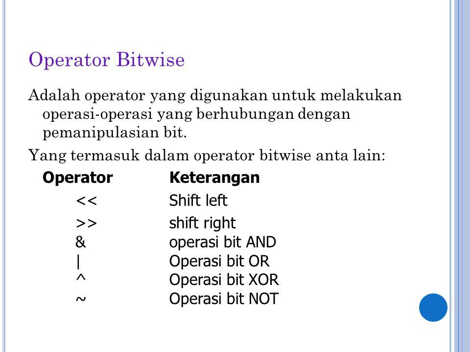 Operator Bitwise Adalah operator yang digunakan untuk melakukan operasi-operasi yang berhubungan dengan pemanipulasian bit. Yang termasuk dalam operat