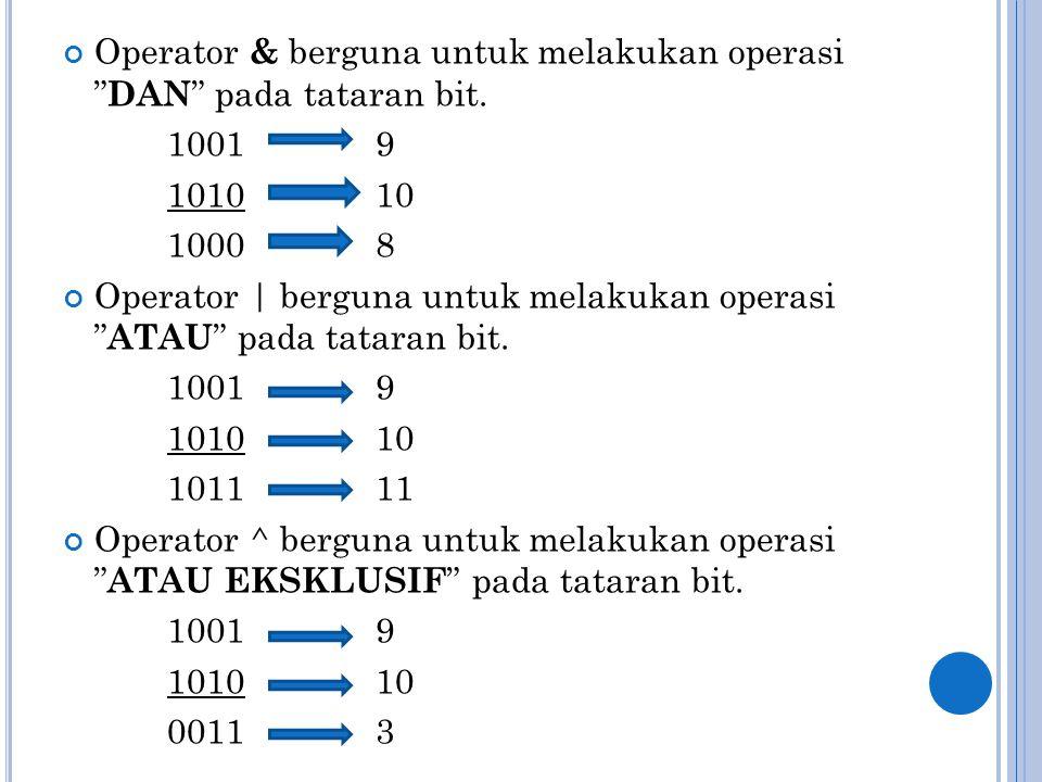 "Operator & berguna untuk melakukan operasi "" DAN "" pada tataran bit. 1001 9 101010 1000 8 Operator | berguna untuk melakukan operasi "" ATAU "" pada tat"