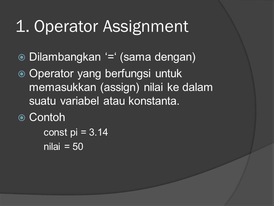 1. Operator Assignment  Dilambangkan '=' (sama dengan)  Operator yang berfungsi untuk memasukkan (assign) nilai ke dalam suatu variabel atau konstan
