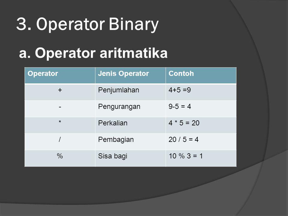 3.Operator Binary a.