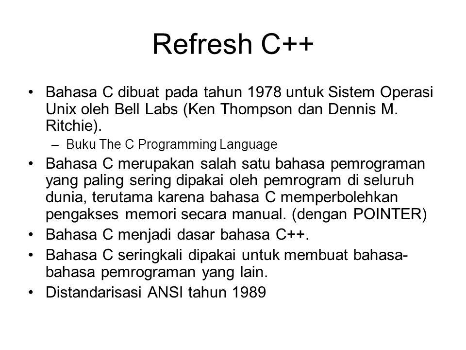 Refresh C++ Bahasa C dibuat pada tahun 1978 untuk Sistem Operasi Unix oleh Bell Labs (Ken Thompson dan Dennis M. Ritchie). –Buku The C Programming Lan
