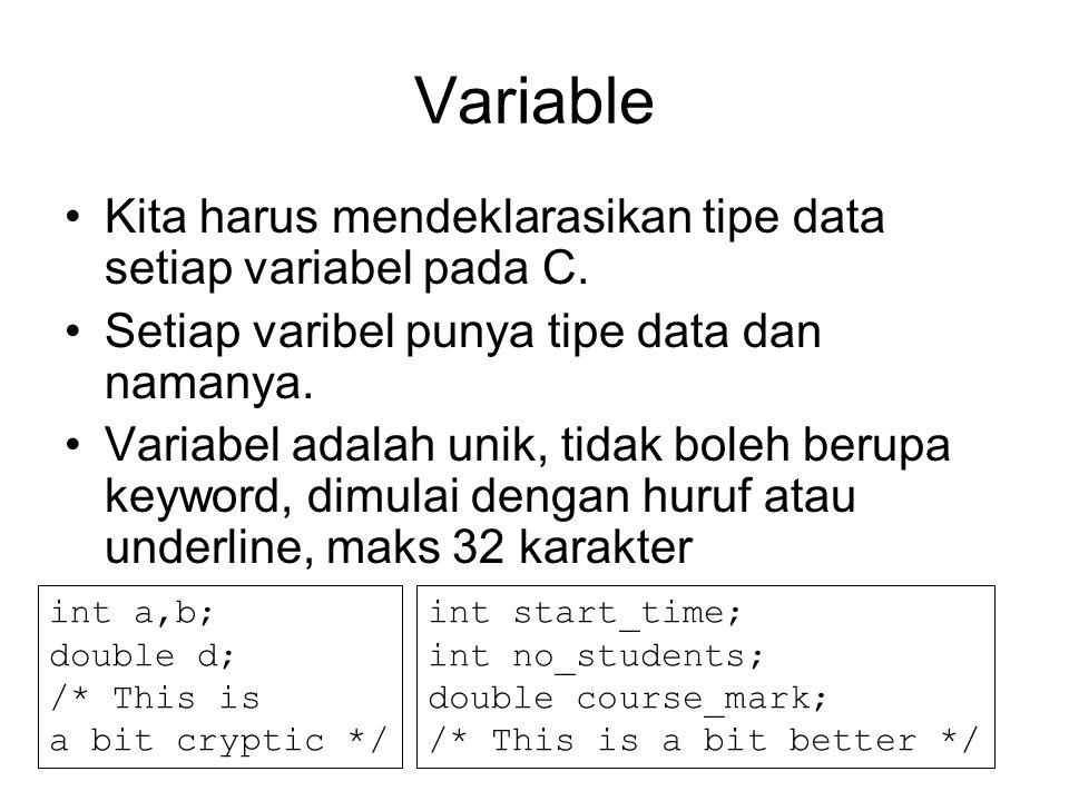 Variable Kita harus mendeklarasikan tipe data setiap variabel pada C. Setiap varibel punya tipe data dan namanya. Variabel adalah unik, tidak boleh be