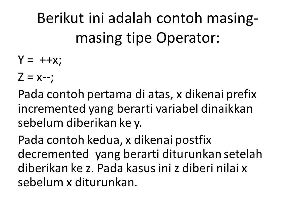 Berikut ini adalah contoh masing- masing tipe Operator: Y = ++x; Z = x--; Pada contoh pertama di atas, x dikenai prefix incremented yang berarti variabel dinaikkan sebelum diberikan ke y.