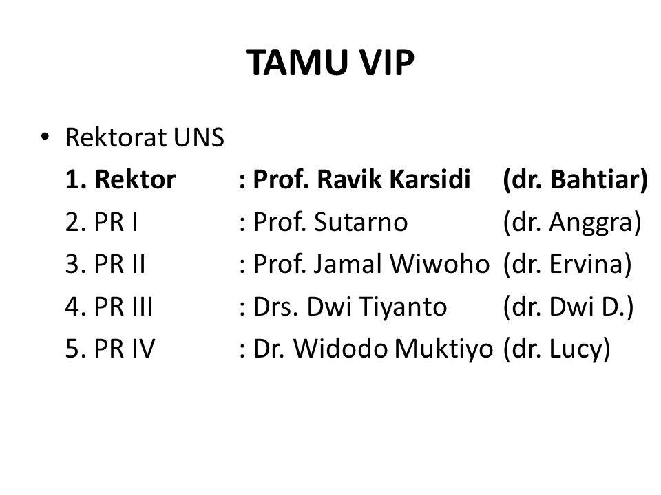TAMU VIP Rektorat UNS 1.Rektor: Prof. Ravik Karsidi(dr.