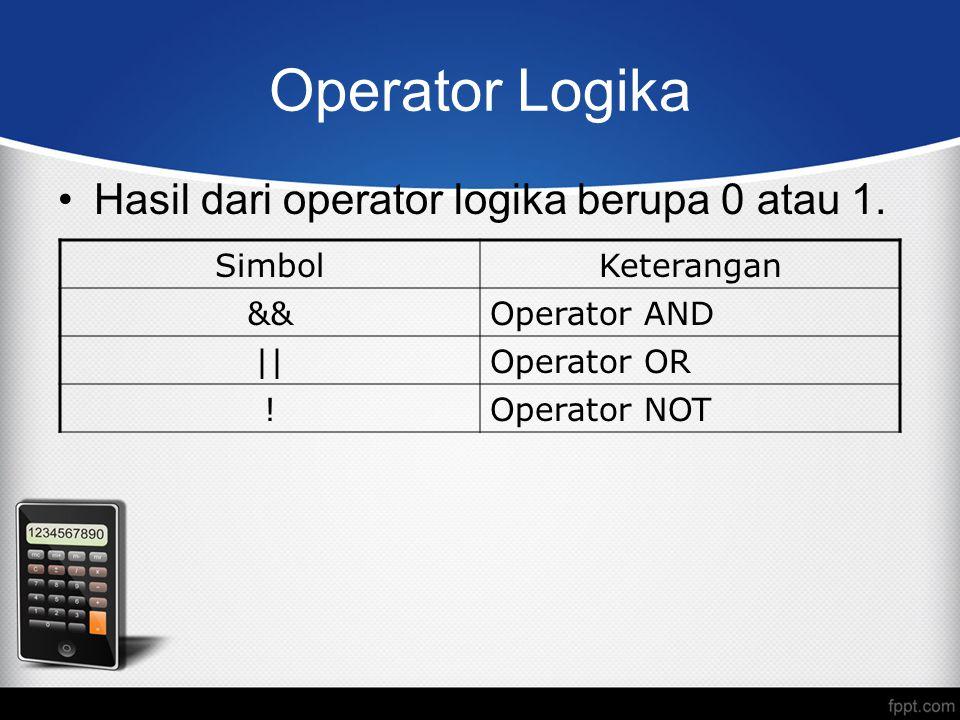 Operator Logika Hasil dari operator logika berupa 0 atau 1. SimbolKeterangan &&Operator AND ||Operator OR !Operator NOT