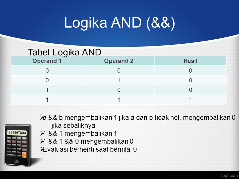 Logika AND (&&) Operand 1Operand 2Hasil 000 010 100 111 Tabel Logika AND  a && b mengembalikan 1 jika a dan b tidak nol, mengembalikan 0 jika sebaliknya  1 && 1 mengembalikan 1  1 && 1 && 0 mengembalikan 0  Evaluasi berhenti saat bernilai 0