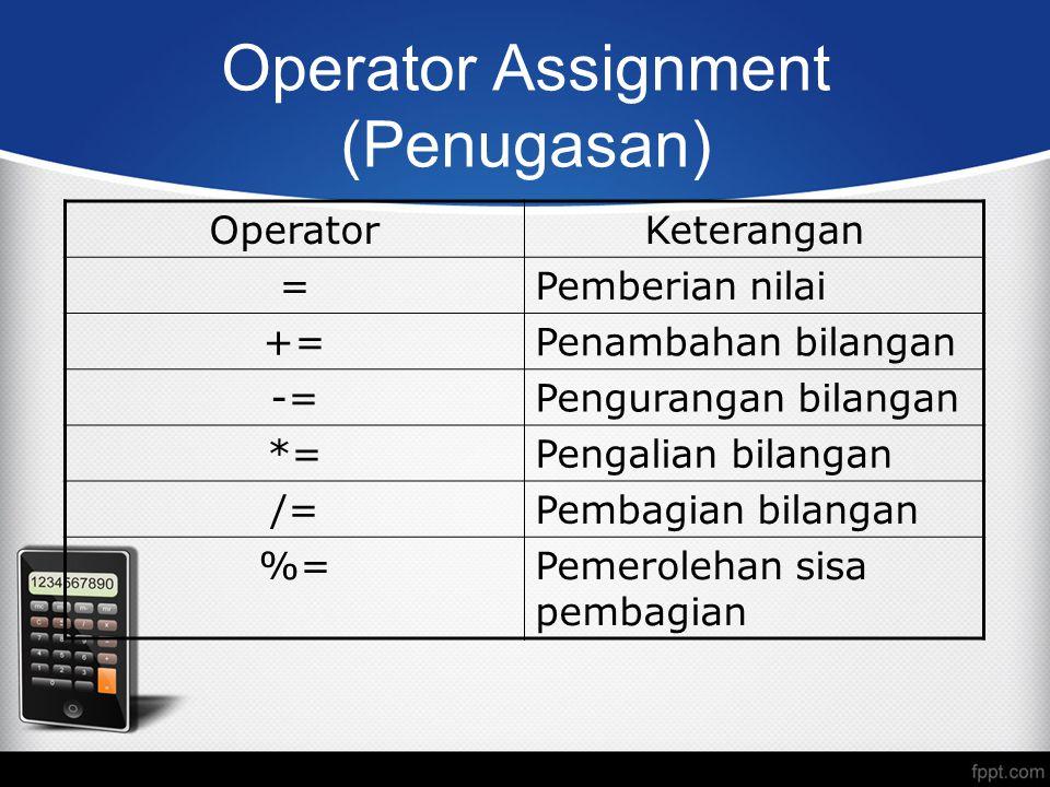 Operator Assignment (Penugasan) OperatorKeterangan =Pemberian nilai +=Penambahan bilangan -=Pengurangan bilangan *=Pengalian bilangan /=Pembagian bilangan %=Pemerolehan sisa pembagian