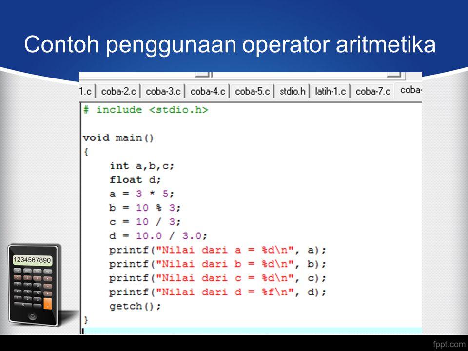 Contoh penggunaan operator aritmetika