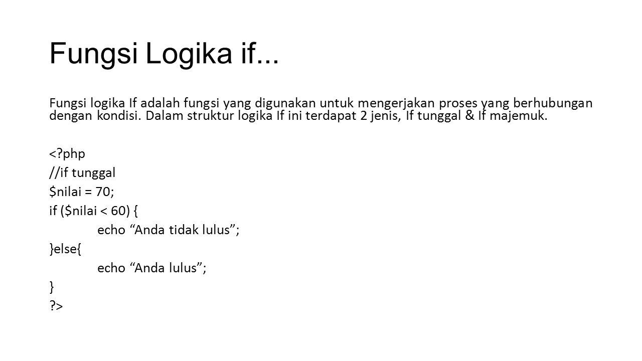 Fungsi Logika if... Fungsi logika If adalah fungsi yang digunakan untuk mengerjakan proses yang berhubungan dengan kondisi. Dalam struktur logika If i