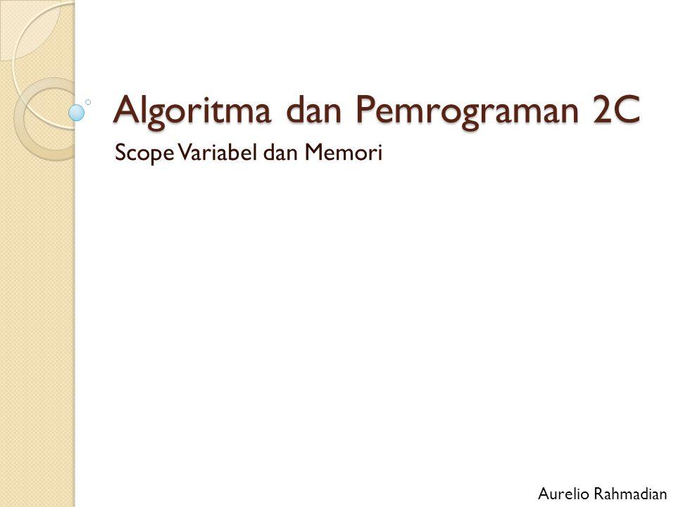 Algoritma dan Pemrograman 2C Scope Variabel dan Memori Aurelio Rahmadian