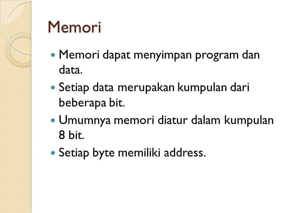 Memori Memori dapat menyimpan program dan data. Setiap data merupakan kumpulan dari beberapa bit. Umumnya memori diatur dalam kumpulan 8 bit. Setiap b