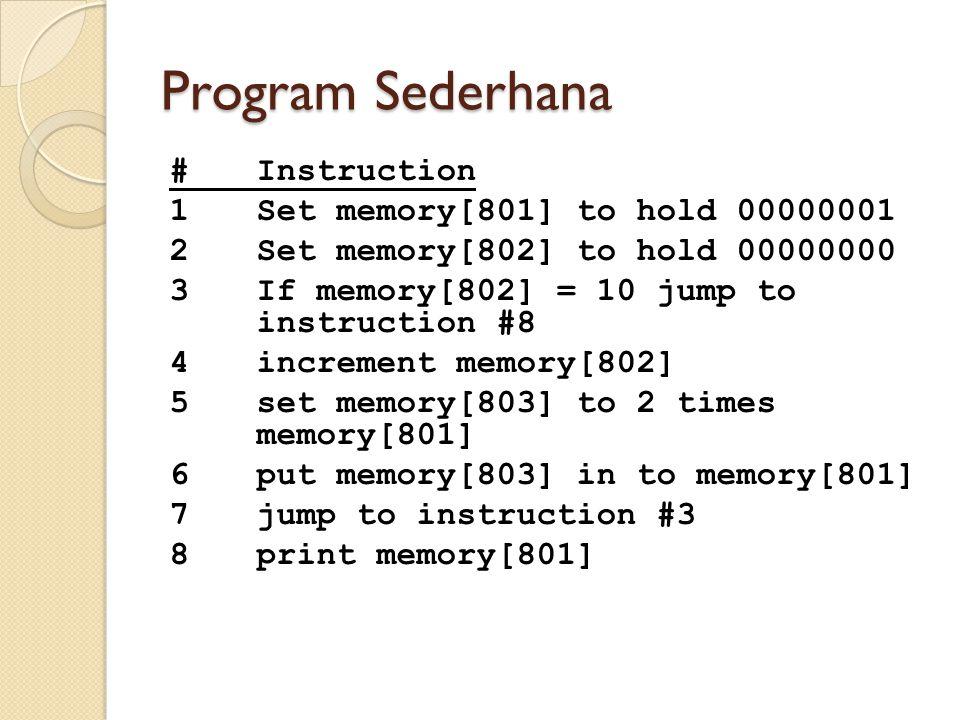 Program Sederhana #Instruction 1Set memory[801] to hold 00000001 2Set memory[802] to hold 00000000 3If memory[802] = 10 jump to instruction #8 4increm