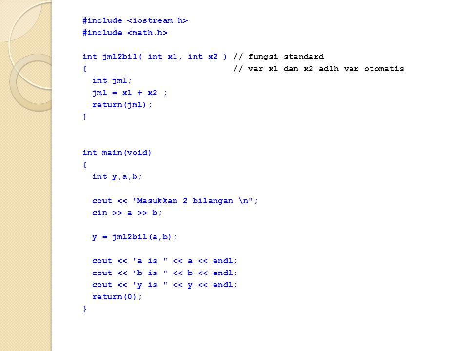 #include int jml2bil( int x1, int x2 ) // fungsi standard { // var x1 dan x2 adlh var otomatis int jml; jml = x1 + x2 ; return(jml); } int main(void)