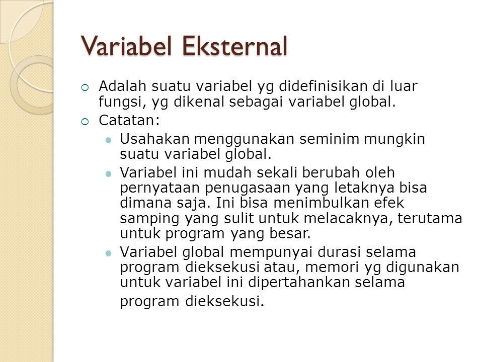 Variabel Eksternal  Adalah suatu variabel yg didefinisikan di luar fungsi, yg dikenal sebagai variabel global.  Catatan: Usahakan menggunakan semini