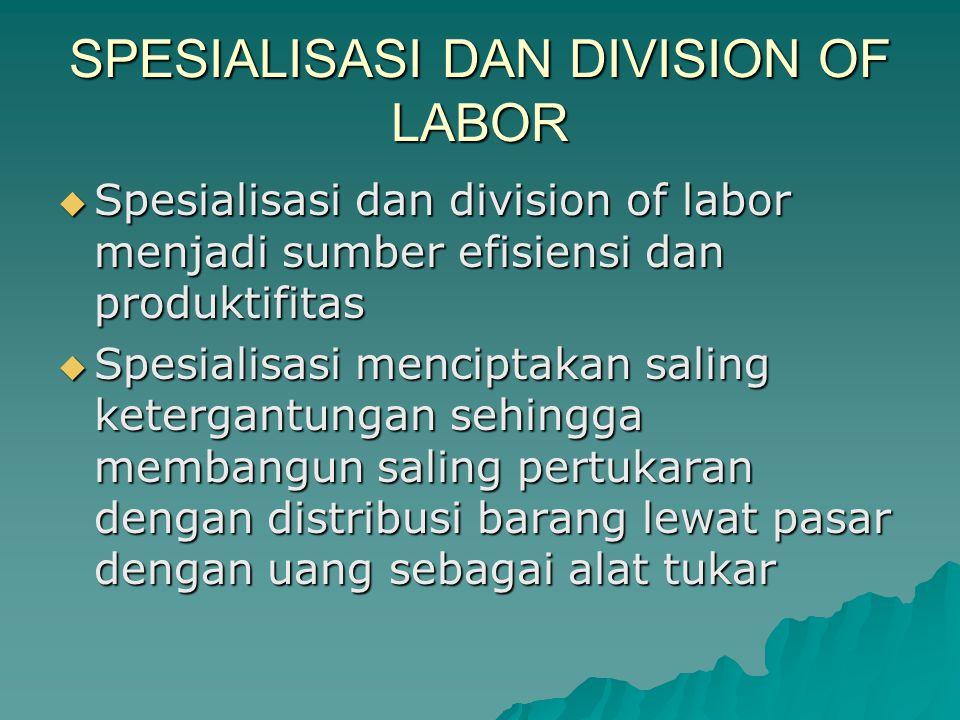 DIVISION OF LABOR  Pengatur/Penguasa (ahli filsafat)  Tentara  Pekerja/Pedagang  Plato menilai pembagian kerja untuk pembangunan kualitas manusia.