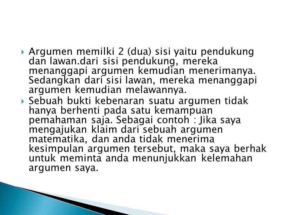  Argumen memilki 2 (dua) sisi yaitu pendukung dan lawan.dari sisi pendukung, mereka menanggapi argumen kemudian menerimanya.