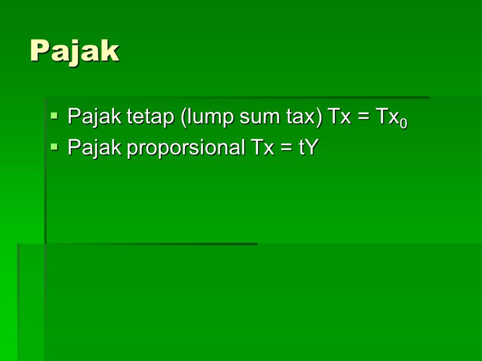 Pajak  Pajak tetap (lump sum tax) Tx = Tx 0  Pajak proporsional Tx = tY