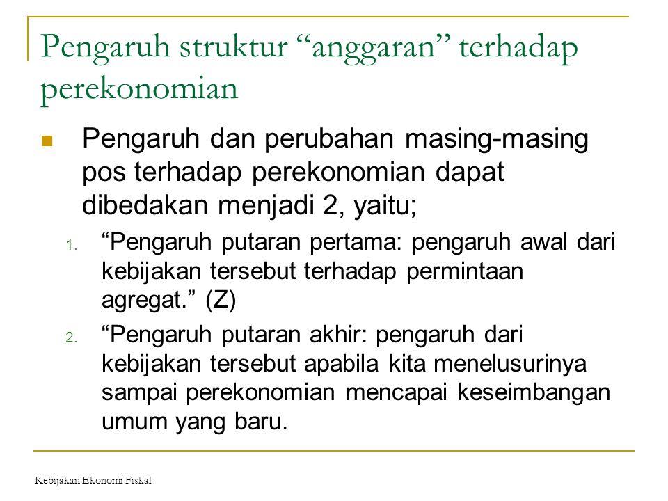"Pengaruh struktur ""anggaran"" terhadap perekonomian Pengaruh dan perubahan masing-masing pos terhadap perekonomian dapat dibedakan menjadi 2, yaitu; 1."