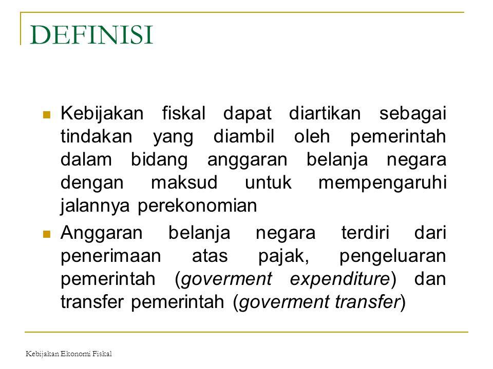 DEFINISI Kebijakan fiskal dapat diartikan sebagai tindakan yang diambil oleh pemerintah dalam bidang anggaran belanja negara dengan maksud untuk mempe