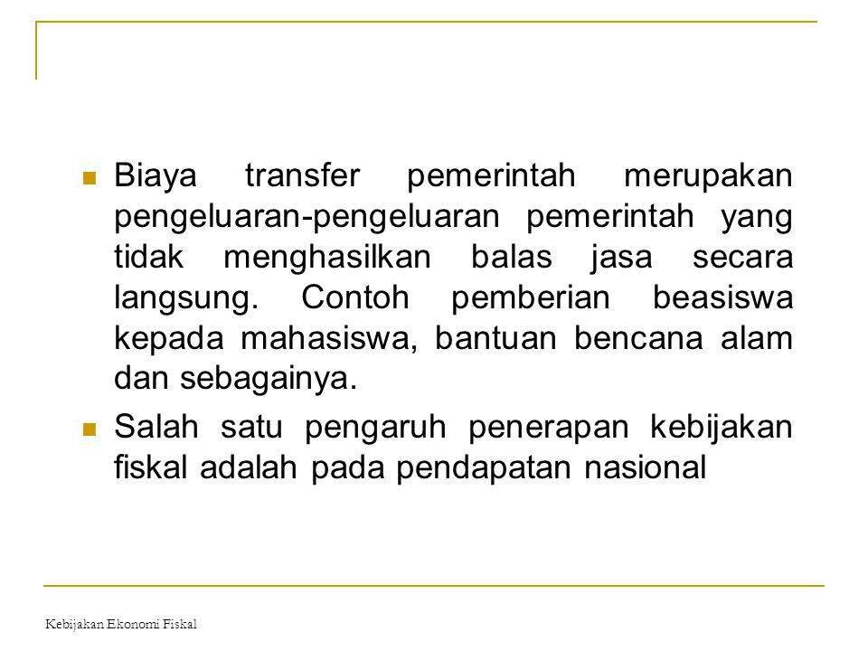 Biaya transfer pemerintah merupakan pengeluaran-pengeluaran pemerintah yang tidak menghasilkan balas jasa secara langsung. Contoh pemberian beasiswa k