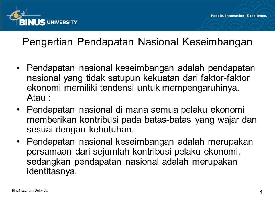 Bina Nusantara University 5 Lanjutan… Persamaan pendapatan nasional : Y = Co+cY+Io+iY+G+(Xo – Mo+mY), Identitas pendapatan nasional : Y = C + I + G + (X-M), di mana Y = GNP Keseimbangan pendapatan nasional memiliki parameter keseimbangan yang harus dipenuhi baik untuk 2 sektor, 3 sektor maupun 4 sektor.