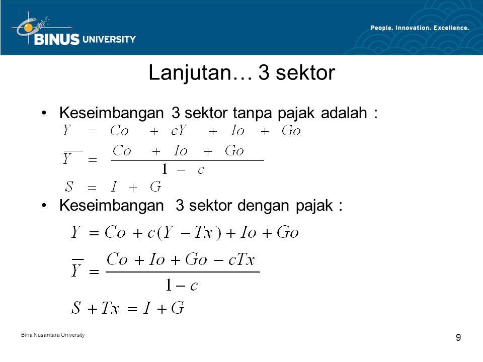 Bina Nusantara University 9 Lanjutan… 3 sektor Keseimbangan 3 sektor tanpa pajak adalah : Keseimbangan 3 sektor dengan pajak :