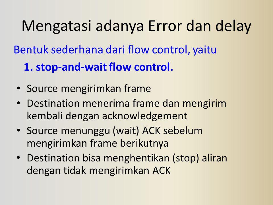 Mengatasi adanya Error dan delay Bentuk sederhana dari flow control, yaitu 1. stop-and-wait flow control. Source mengirimkan frame Destination menerim