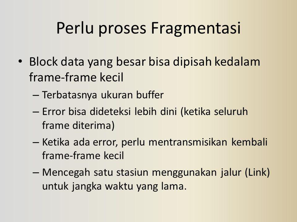 Perlu proses Fragmentasi Block data yang besar bisa dipisah kedalam frame-frame kecil – Terbatasnya ukuran buffer – Error bisa dideteksi lebih dini (k