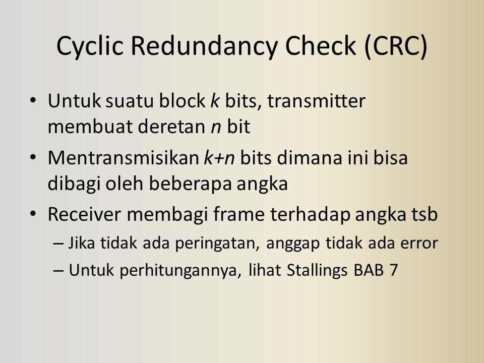 Cyclic Redundancy Check (CRC) Untuk suatu block k bits, transmitter membuat deretan n bit Mentransmisikan k+n bits dimana ini bisa dibagi oleh beberap