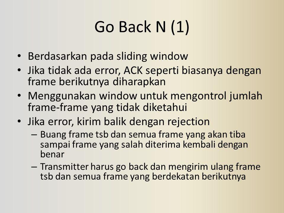Go Back N (1) Berdasarkan pada sliding window Jika tidak ada error, ACK seperti biasanya dengan frame berikutnya diharapkan Menggunakan window untuk m