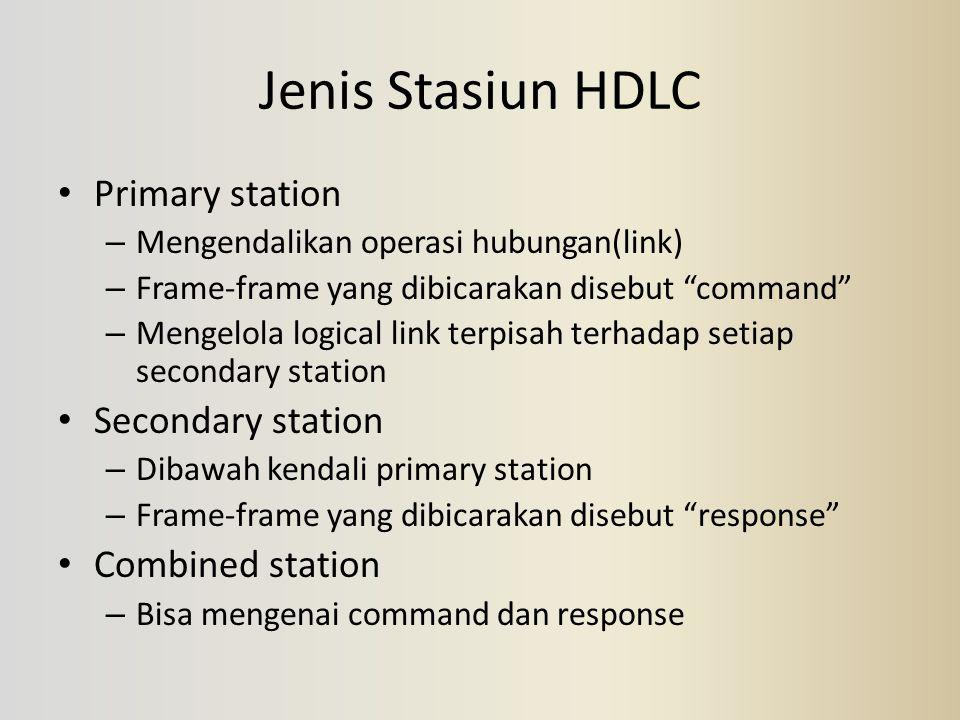"""Jenis Stasiun HDLC Primary station – Mengendalikan operasi hubungan(link) – Frame-frame yang dibicarakan disebut """"command"""" – Mengelola logical link te"""