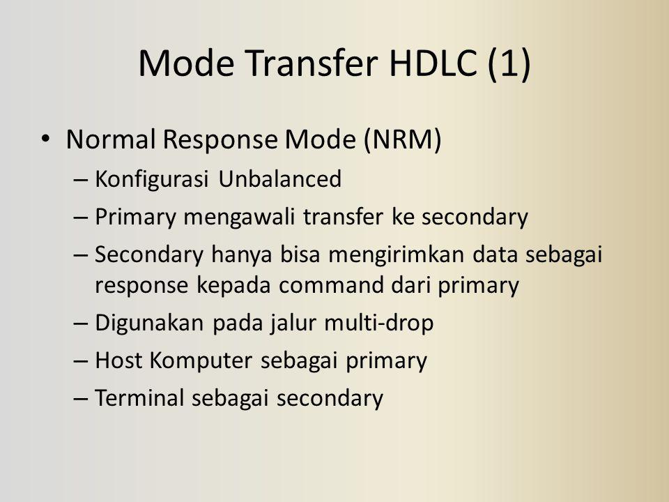 Mode Transfer HDLC (1) Normal Response Mode (NRM) – Konfigurasi Unbalanced – Primary mengawali transfer ke secondary – Secondary hanya bisa mengirimka