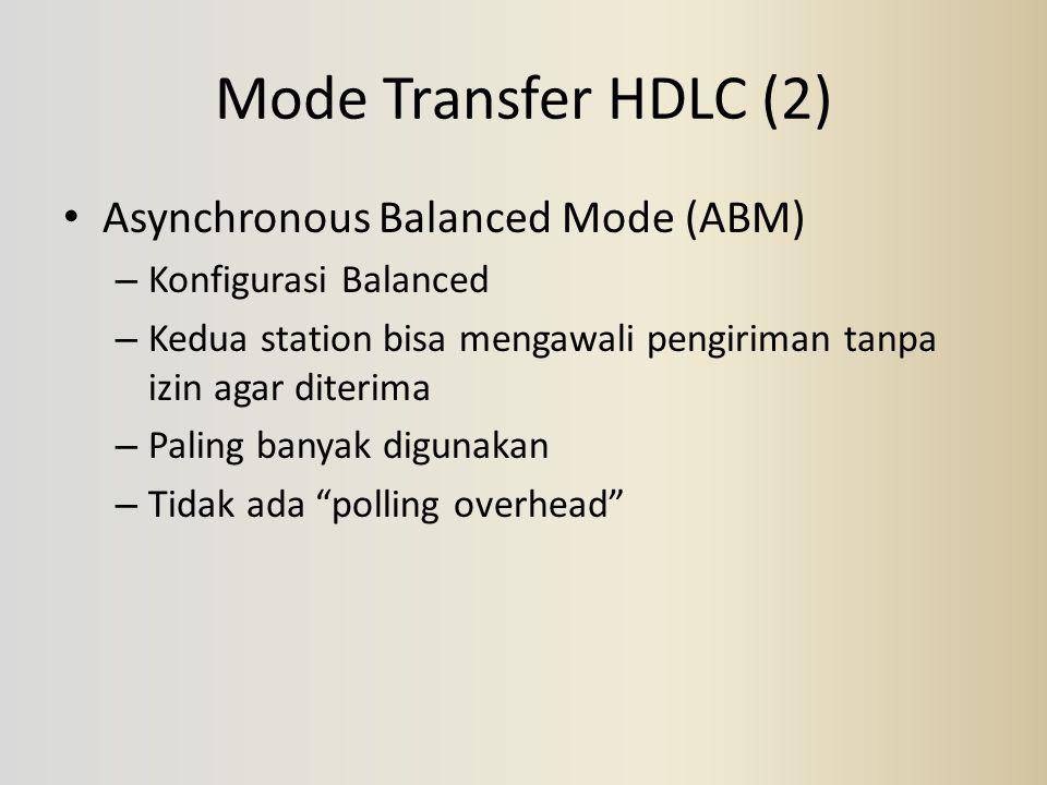 Mode Transfer HDLC (2) Asynchronous Balanced Mode (ABM) – Konfigurasi Balanced – Kedua station bisa mengawali pengiriman tanpa izin agar diterima – Pa