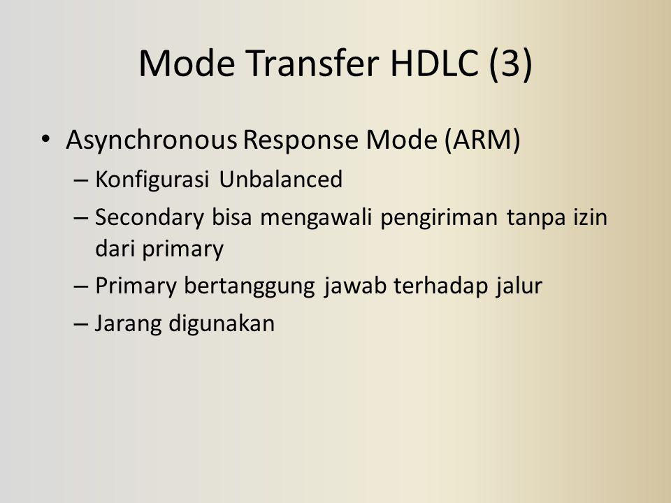 Mode Transfer HDLC (3) Asynchronous Response Mode (ARM) – Konfigurasi Unbalanced – Secondary bisa mengawali pengiriman tanpa izin dari primary – Prima
