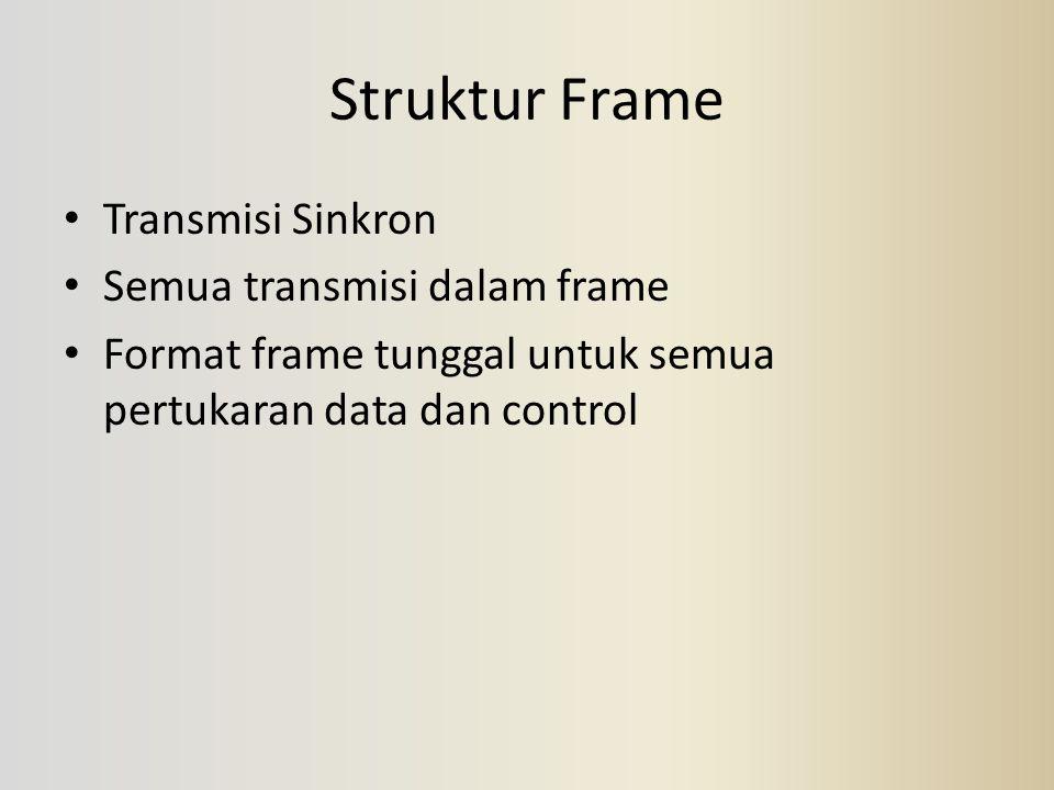 Struktur Frame Transmisi Sinkron Semua transmisi dalam frame Format frame tunggal untuk semua pertukaran data dan control