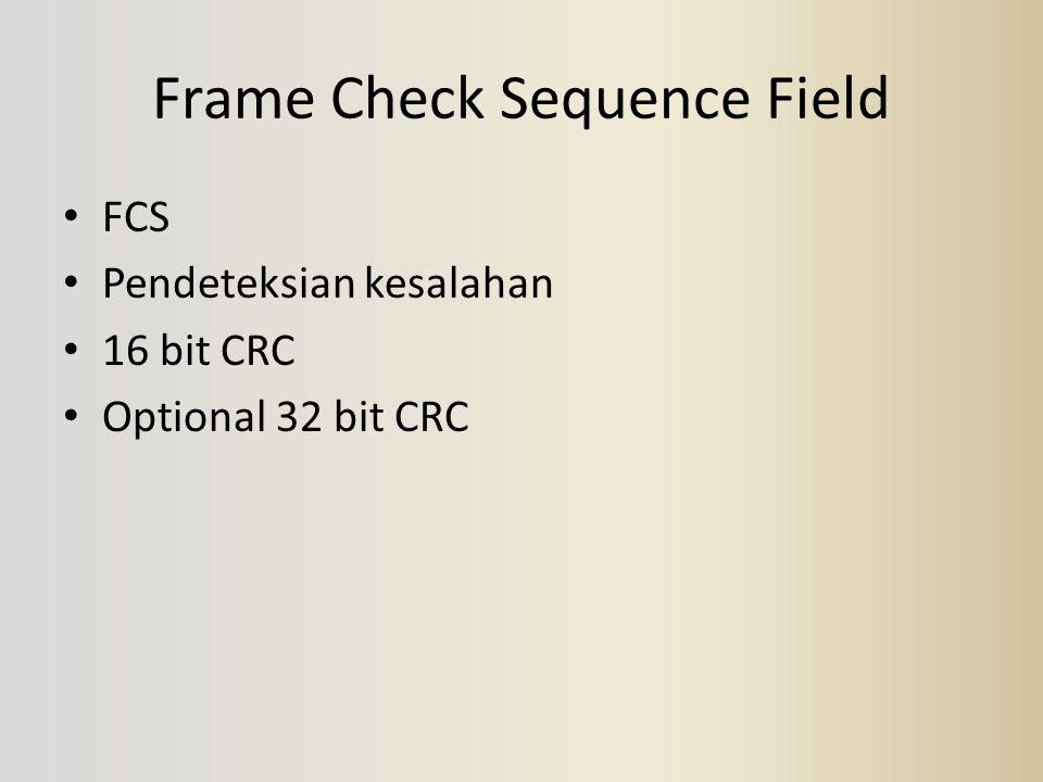 Frame Check Sequence Field FCS Pendeteksian kesalahan 16 bit CRC Optional 32 bit CRC