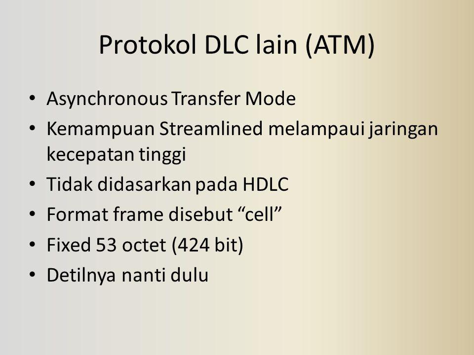 Protokol DLC lain (ATM) Asynchronous Transfer Mode Kemampuan Streamlined melampaui jaringan kecepatan tinggi Tidak didasarkan pada HDLC Format frame d