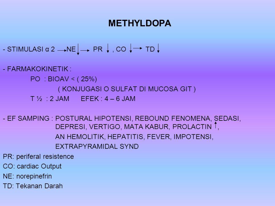 METHYLDOPA - STIMULASI α 2 NE PR, CO TD - FARMAKOKINETIK : PO : BIOAV < ( 25%) ( KONJUGASI O SULFAT DI MUCOSA GIT ) T ½ : 2 JAM EFEK : 4 – 6 JAM - EF