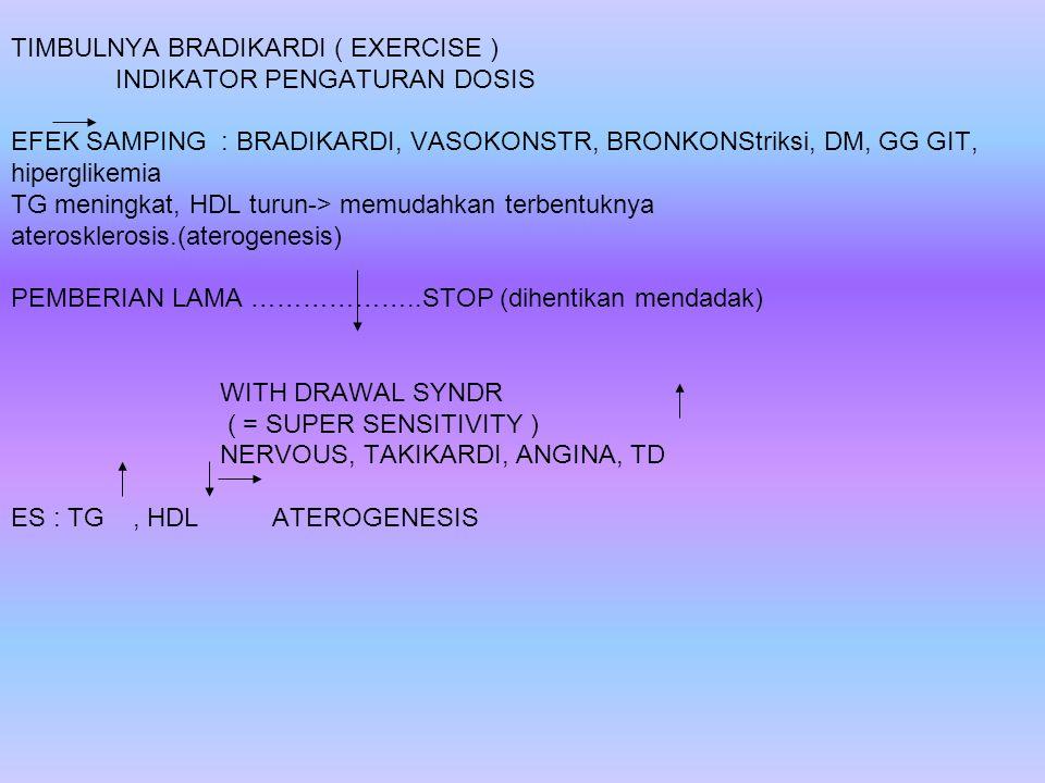 TIMBULNYA BRADIKARDI ( EXERCISE ) INDIKATOR PENGATURAN DOSIS EFEK SAMPING : BRADIKARDI, VASOKONSTR, BRONKONStriksi, DM, GG GIT, hiperglikemia TG menin