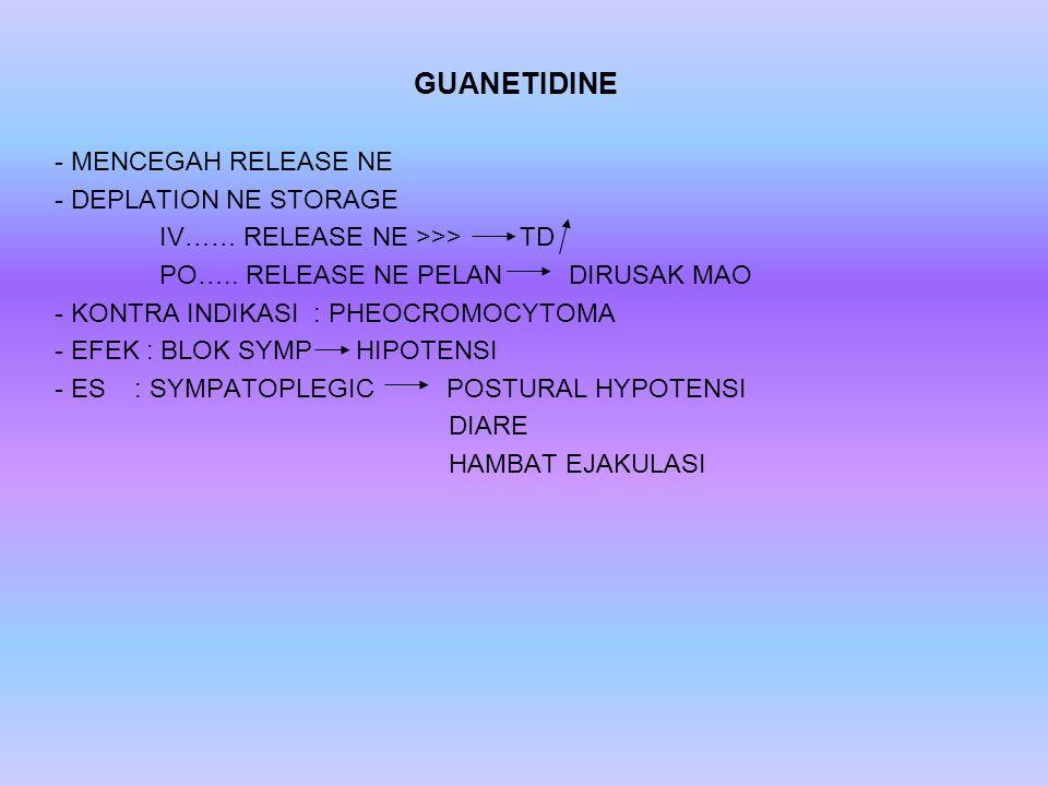GUANETIDINE - MENCEGAH RELEASE NE - DEPLATION NE STORAGE IV…… RELEASE NE >>> TD PO….. RELEASE NE PELAN DIRUSAK MAO - KONTRA INDIKASI : PHEOCROMOCYTOMA