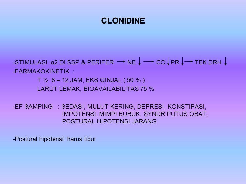 CLONIDINE -S-STIMULASI α2 DI SSP & PERIFER NE CO PR TEK DRH -F-FARMAKOKINETIK : T ½ 8 – 12 JAM, EKS GINJAL ( 50 % ) LARUT LEMAK, BIOAVAILABILITAS 75 %
