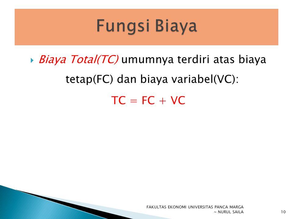  Biaya Total(TC) umumnya terdiri atas biaya tetap(FC) dan biaya variabel(VC): TC = FC + VC FAKULTAS EKONOMI UNIVERSITAS PANCA MARGA ~ NURUL SAILA 10