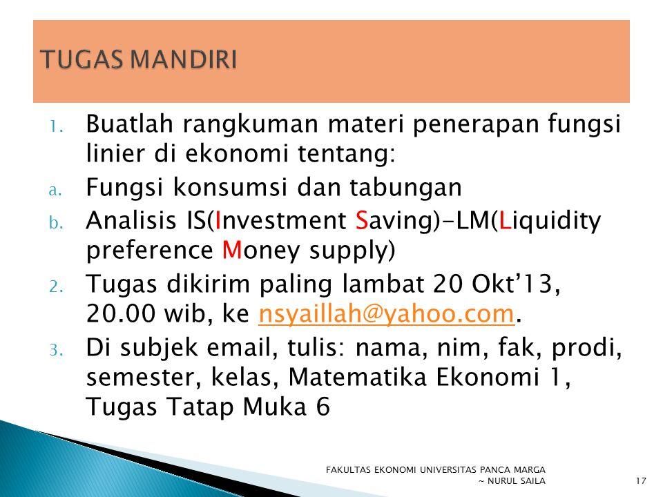 1. Buatlah rangkuman materi penerapan fungsi linier di ekonomi tentang: a. Fungsi konsumsi dan tabungan b. Analisis IS(Investment Saving)-LM(Liquidity