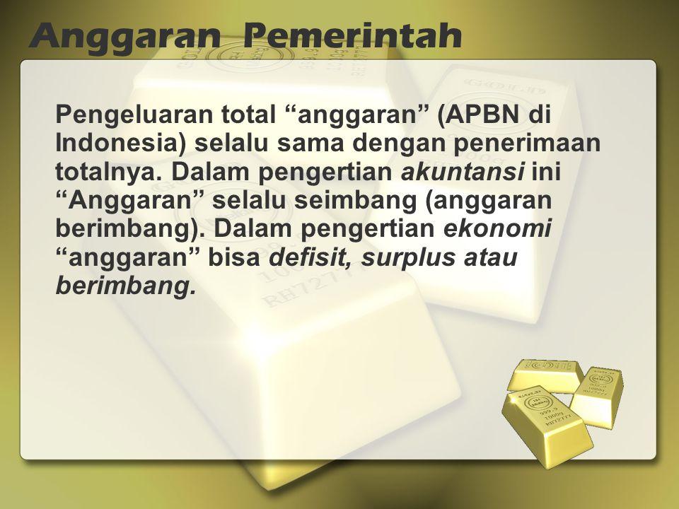 Pengeluaran total anggaran (APBN di Indonesia) selalu sama dengan penerimaan totalnya.