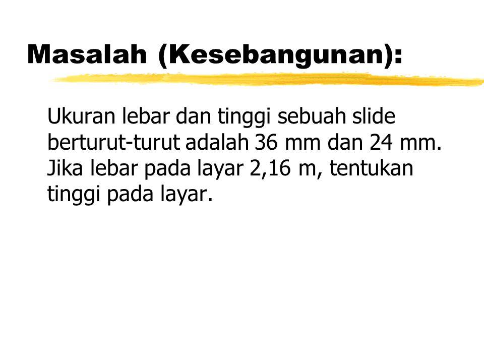 Masalah (Kesebangunan): Ukuran lebar dan tinggi sebuah slide berturut-turut adalah 36 mm dan 24 mm.