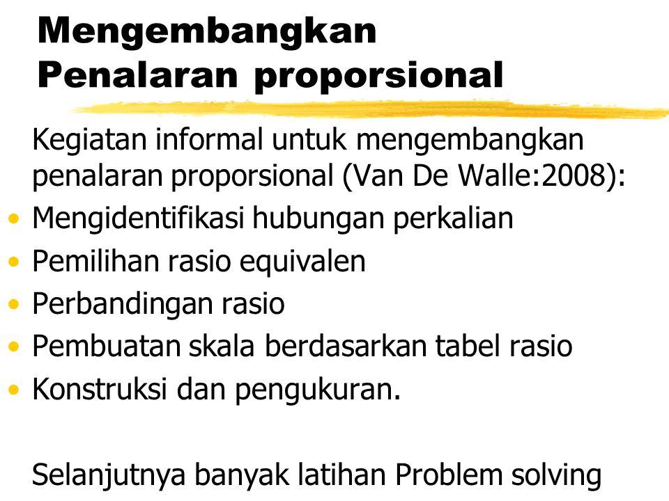 Mengembangkan Penalaran proporsional Kegiatan informal untuk mengembangkan penalaran proporsional (Van De Walle:2008): Mengidentifikasi hubungan perkalian Pemilihan rasio equivalen Perbandingan rasio Pembuatan skala berdasarkan tabel rasio Konstruksi dan pengukuran.
