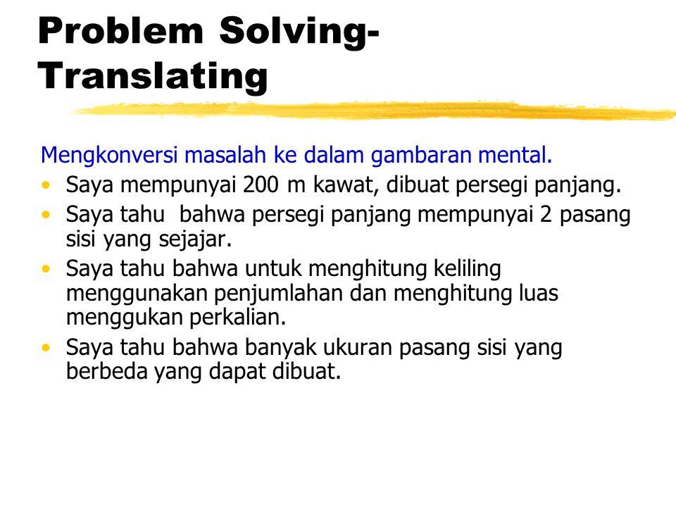 Problem Solving- Translating Mengkonversi masalah ke dalam gambaran mental. Saya mempunyai 200 m kawat, dibuat persegi panjang. Saya tahu bahwa perseg
